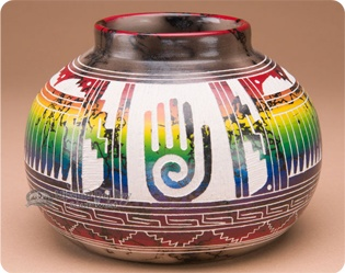 Navajo Horse Hair Color Band Pottery